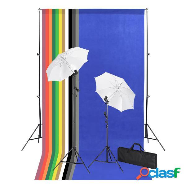 vidaXL Set de fotografía de estudio con telones, lámparas