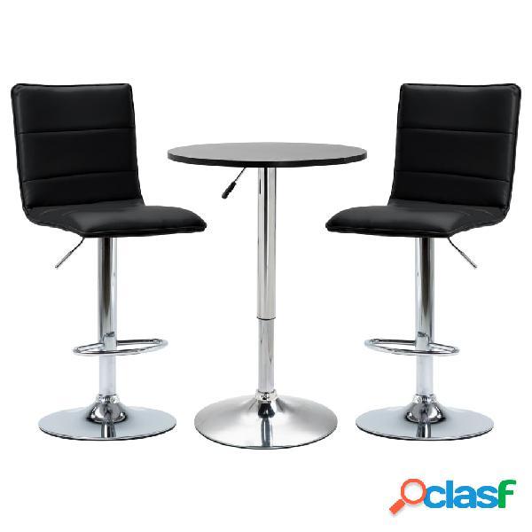 vidaXL Set de mesa alta y taburetes de bar 3 piezas cuero