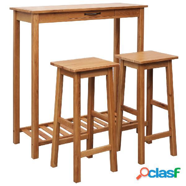 vidaXL Set de mesa y sillas de bar 3 piezas madera maciza de
