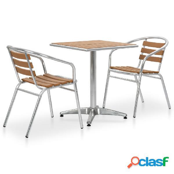 vidaXL Set de mesa y sillas de jardín 3 piezas aluminio y