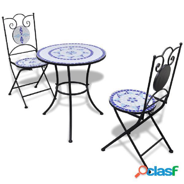 vidaXL Set de mesa y sillas de jardín 3 pzas con mosaico