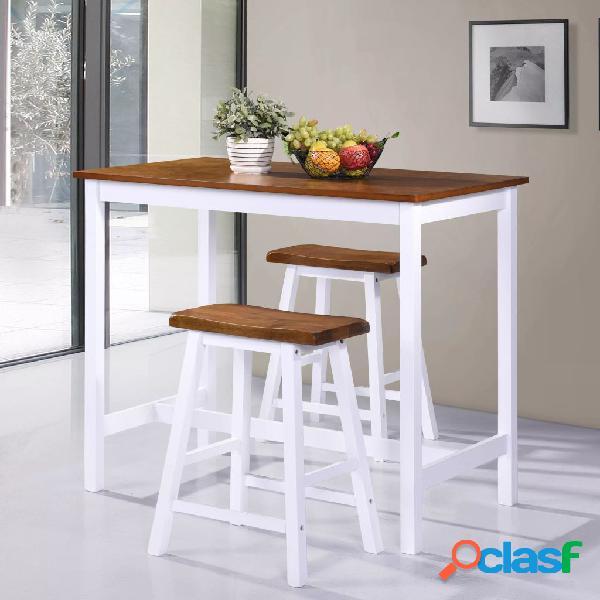 vidaXL Set de mesa y taburete de bar 3 piezas madera maciza