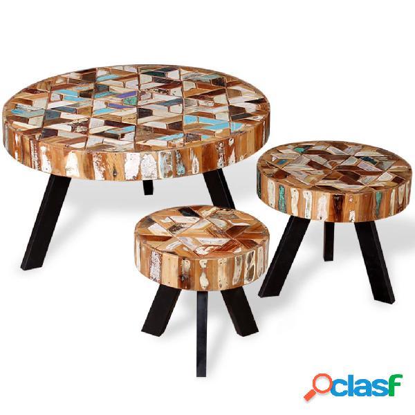vidaXL Set de mesas de centro madera reciclada maciza tres