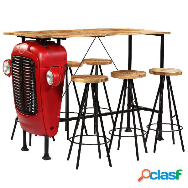 vidaXL Set de muebles de bar madera maciza mango 7 pzas