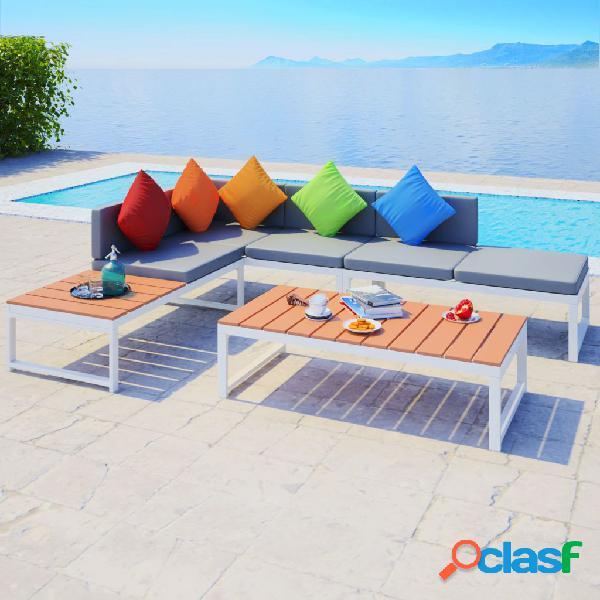 vidaXL Set de muebles de jardín 4 piezas y cojines aluminio