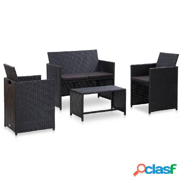 vidaXL Set de muebles de jardín 4 pzas y cojines ratán