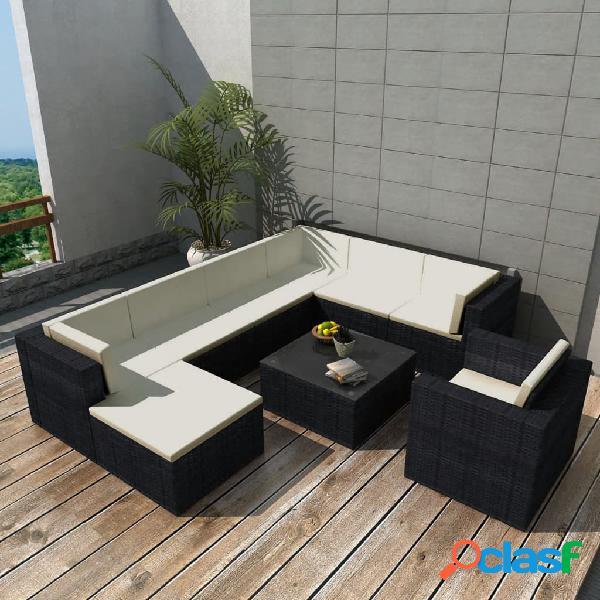 vidaXL Set de muebles de jardín 9 pzas y cojines ratán