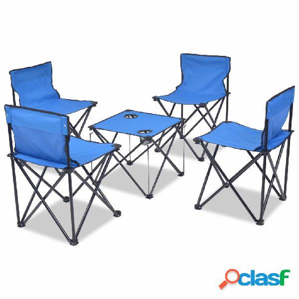 vidaXL Set de muebles plegables de camping 5 piezas azul