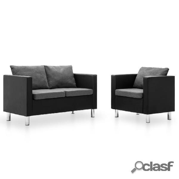 vidaXL Set de sofás de 2 piezas de cuero sintético negro y