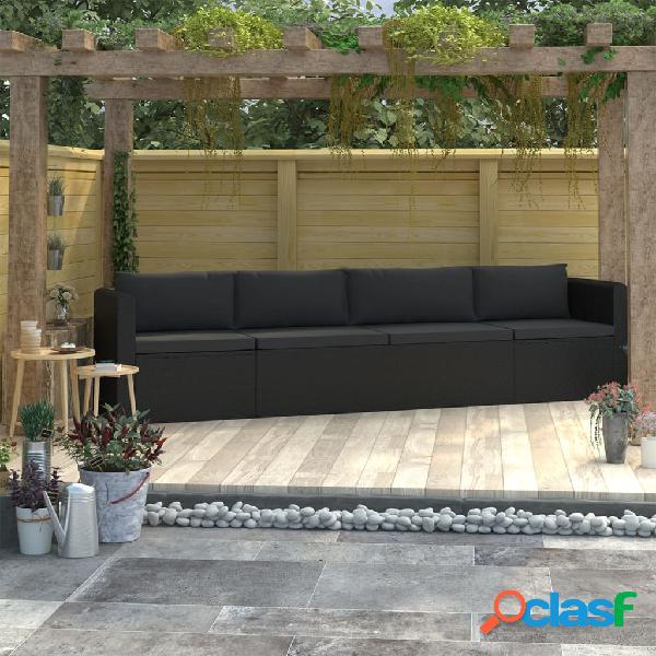 vidaXL Set de sofás de jardín 4 piezas y cojines ratán