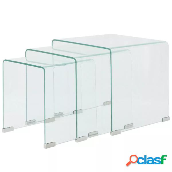 vidaXL Set de tres mesas de centro apilables vidrio templado