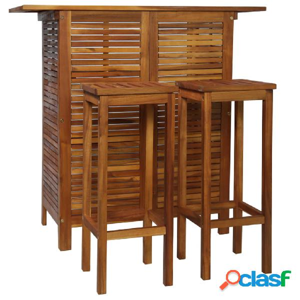 vidaXL Set mesa de bar y sillas 3 piezas de madera de acacia