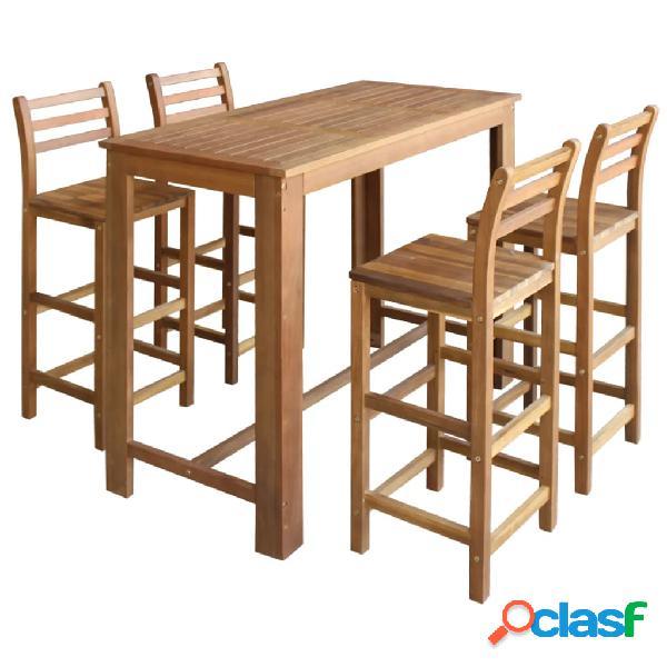 vidaXL Set mesa de bar y sillas 5 piezas de madera de acacia