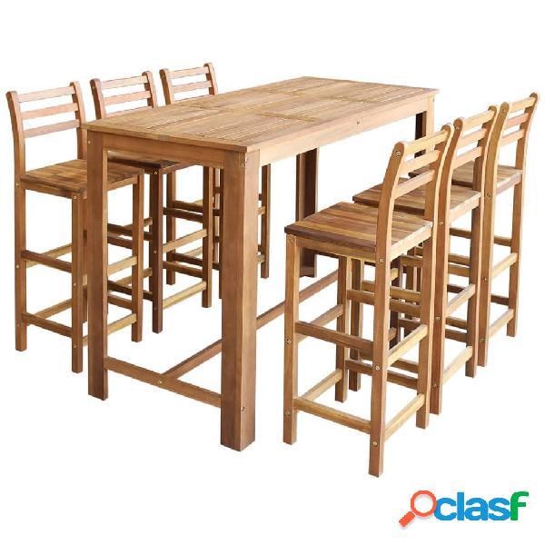 vidaXL Set mesa de bar y sillas 7 piezas de madera de acacia