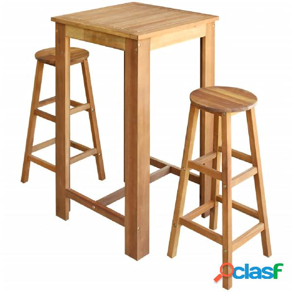 vidaXL Set mesa de bar y taburetes 3 piezas de madera de
