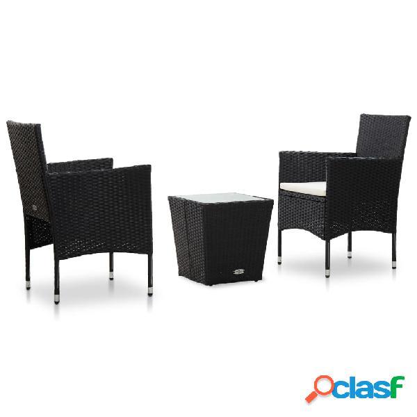 vidaXL Set mesa y sillas 3 pzas ratán sintético vidrio