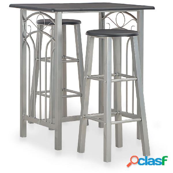 vidaXL Set mesa y sillas altas de cocina 3 piezas madera y