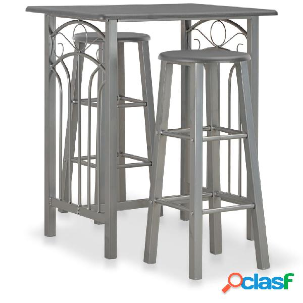 vidaXL Set mesa y sillas altas de cocina 3 pzas madera acero
