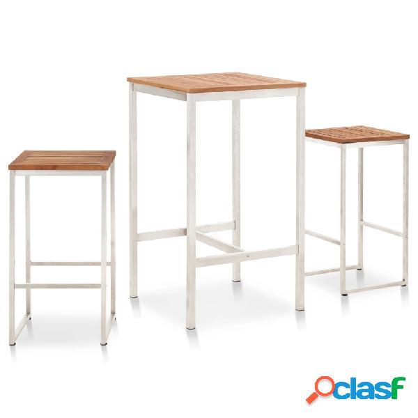 vidaXL Set mesa y sillas de bar 3 pzas madera acacia acero