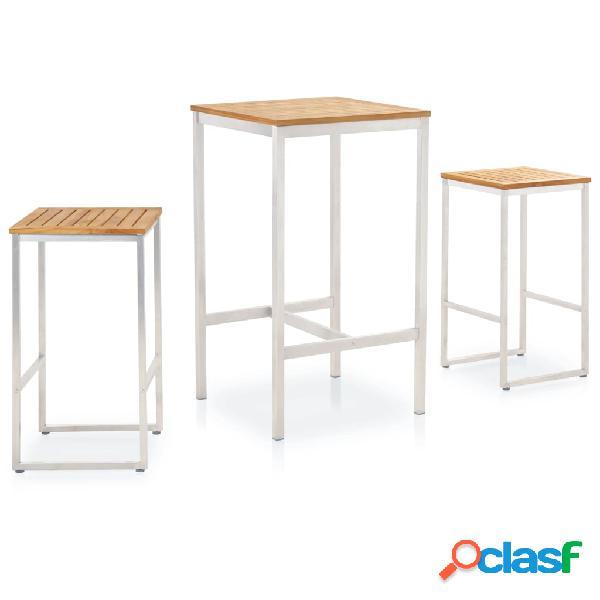 vidaXL Set mesa y sillas de bar 3 pzas teca maciza y acero