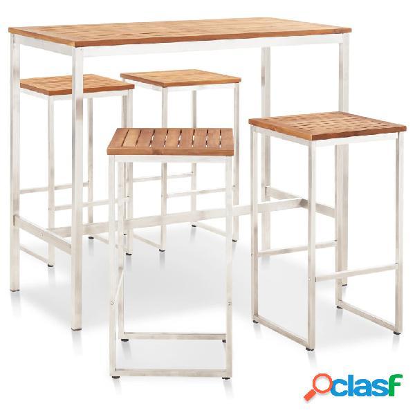 vidaXL Set mesa y sillas de bar 5 pzas madera acacia acero