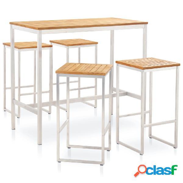 vidaXL Set mesa y sillas de bar 5 pzas teca maciza y acero
