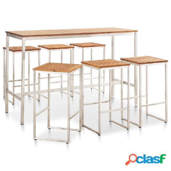 vidaXL Set mesa y sillas de bar 7 pzas madera acacia acero