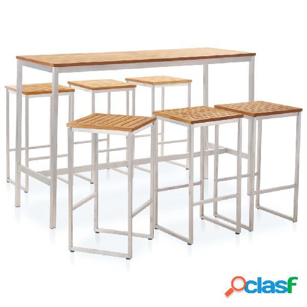 vidaXL Set mesa y sillas de bar 7 pzas teca maciza y acero