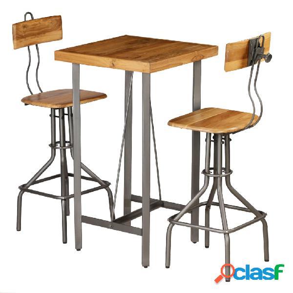 vidaXL Set mesa y sillas de bar madera teca maciza reciclada