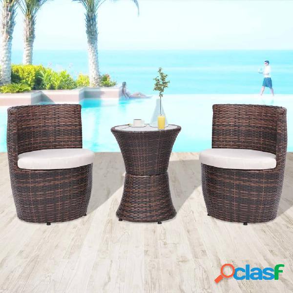vidaXL Set mesa y sillas de jardín 3 pzas y cojines poli