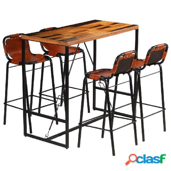 vidaXL Set muebles bar 5 piezas madera maciza reciclada y