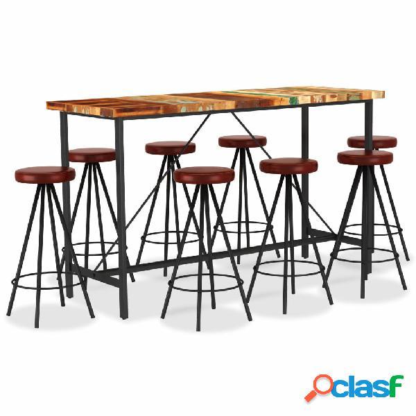 vidaXL Set muebles de bar 9 piezas madera reciclada y cuero
