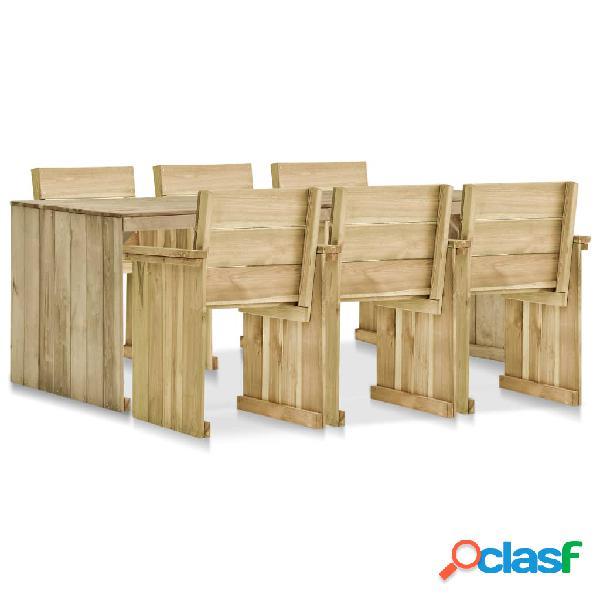 vidaXL Set muebles de comedor de jardín 7 pzas madera pino