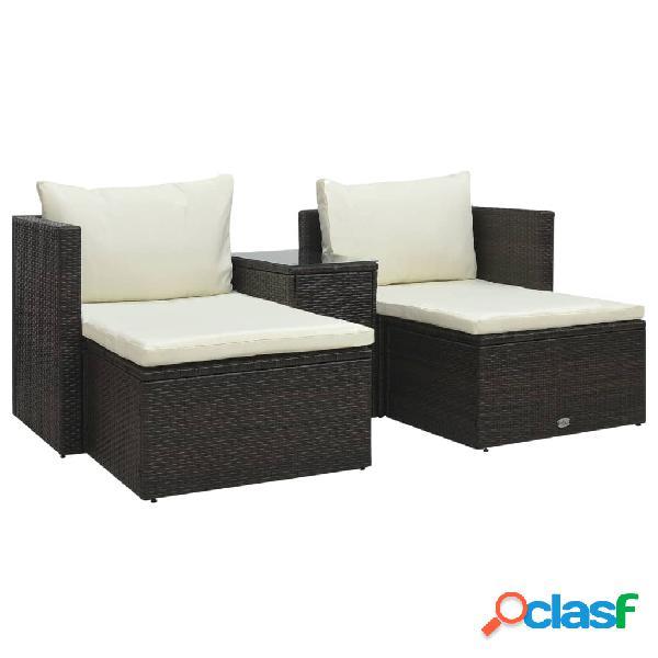 vidaXL Set muebles de jardín 5 piezas y cojines ratán