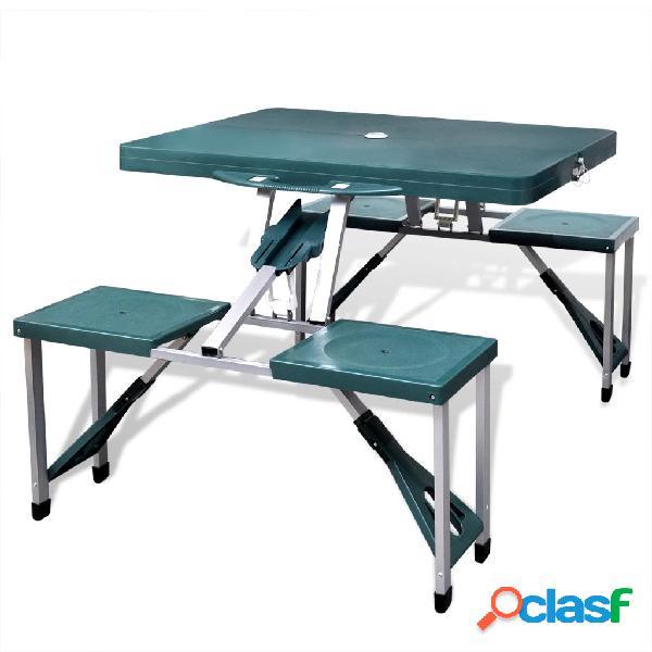 vidaXL Set plegable camping 1 mesa 4 taburetes aluminio