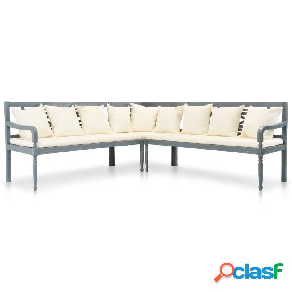 vidaXL Set sofás de jardín 3 pzas y cojines madera maciza