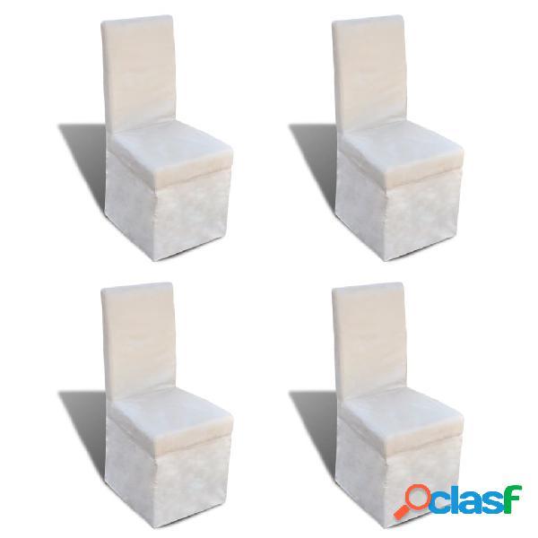 vidaXL Sillas de comedor 4 unidades de tela blanco crema