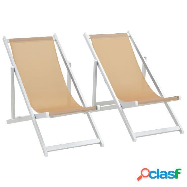 vidaXL Sillas de playa plegables 2 unidades aluminio y
