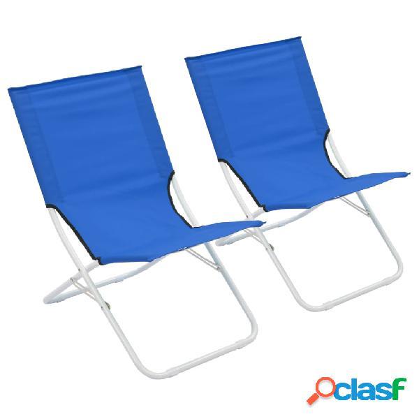 vidaXL Sillas de playa plegables 2 unidades azul