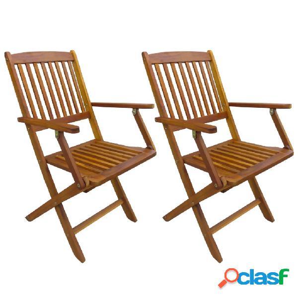 vidaXL Sillas plegables de jardín 2 unidades madera de