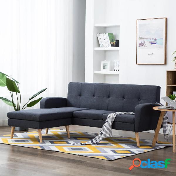 vidaXL Sofá con forma de L tapizado de tela gris oscuro