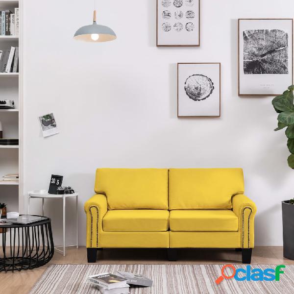 vidaXL Sofá de 2 plazas de tela amarillo