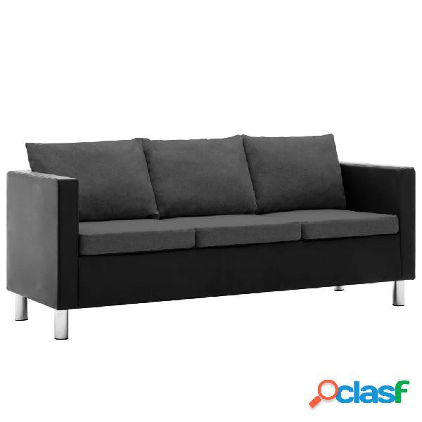 vidaXL Sofá de 3 plazas de cuero sintético negro y gris