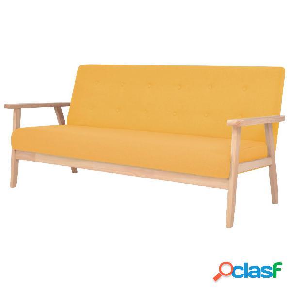 vidaXL Sofá de 3 plazas de tela amarillo