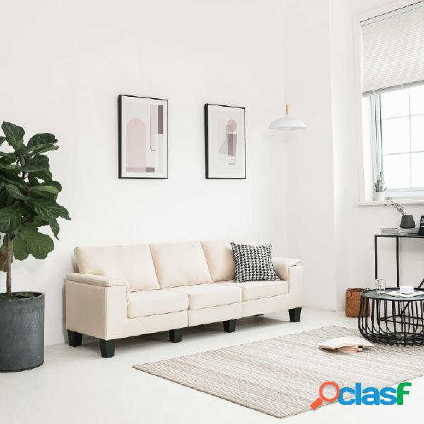 vidaXL Sofá de 3 plazas de tela color crema