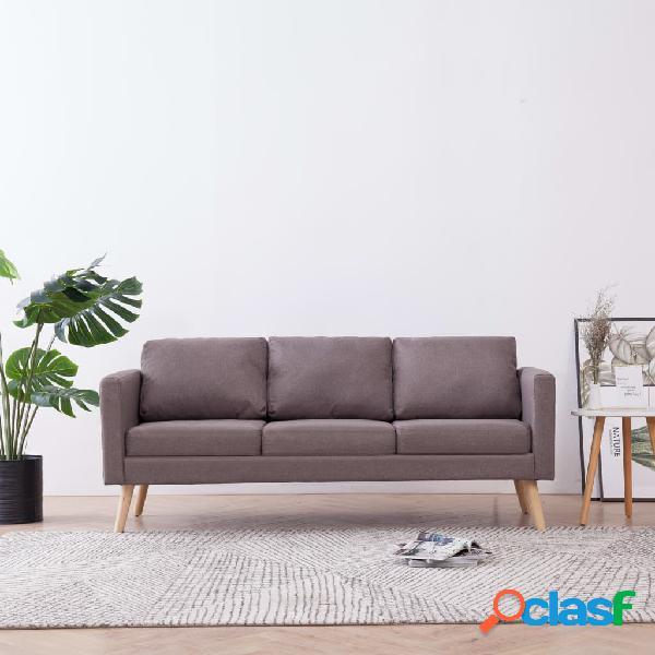 vidaXL Sofá de 3 plazas de tela color gris topo