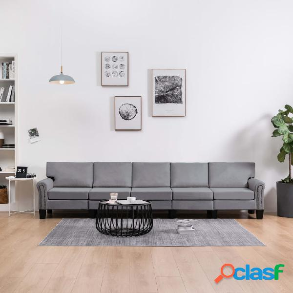 vidaXL Sofá de 5 plazas tela gris claro