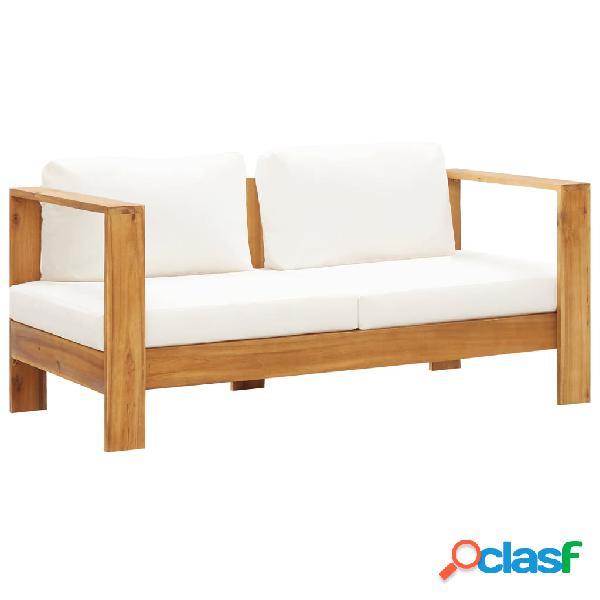 vidaXL Sofá de jardín con cojín madera de acacia blanco