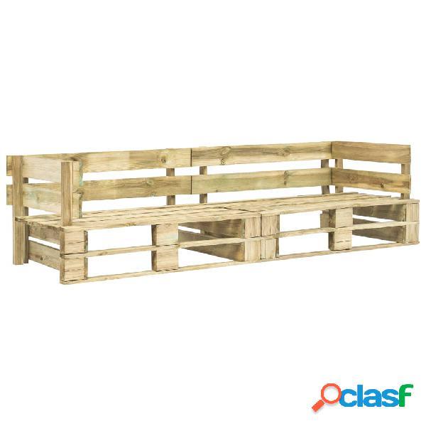 vidaXL Sofá de palés para jardín 2 plazas verde madera