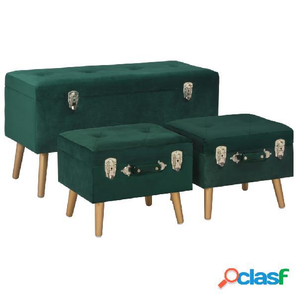 vidaXL Taburetes de almacenamiento 3 piezas verde de